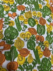 Vintage Con-Tact Adhesive Paper Orange Yellow Green Vegetables Unique Measuremen