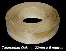 Iron-On TIMBER Veneer Edge Tape TASMANIAN OAK 22mm x 5 metres Pre Glued Edging