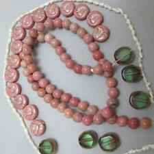 Pink, Red Wood Line Jasper, Rounds, PINK, Chick Disks + Pearls