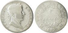 NAPOLEON  I°  ,  1  FRANC  ARGENT   TÊTE   LAURÉE  ,  1812  K  BORDEAUX  , RARE
