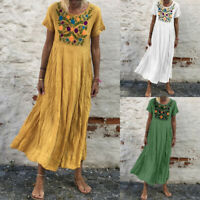 Women Summer Plus Size Short Sleeve O Neck Embroidered Casual Maxi Dress