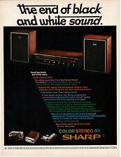 1969 SHARP 20 Watt Receiver & Speakers End of Black & White Sound Vtg Print Ad