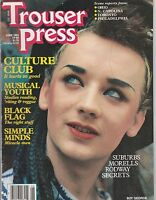 JUNE 1983 TROUSER PRESS vintage music magazine BOY GEORGE - SIMPLE MINDS