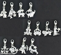 24PCs Mixed Silver Plated Clear Rhinestone Zodiac Clip On Charms DIY Accessories