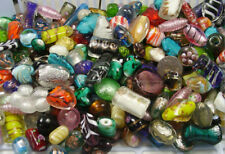 TWO POUNDS ASSORTED VENETIAN INSPIRED MIX LAMPWORK GLASS BEADS LOT (BD-34)