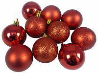 Pack of 10 Red Decorated Christmas Baubles - 60mm Size - Shatterproof (BA060RD)