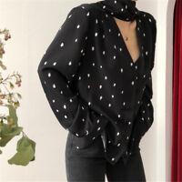 Womens Chiffon Long Sleeve Loose Blouse V-neck Casual Shirt Polka Dot Tops Shirt