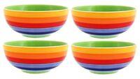 Rainbow Striped Ceramic Bowls Set Of 4 By Windhorse Ceramic Striped Tableware
