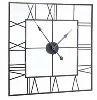 Extra Large Black Skeleton Square Metal Wall Clock Urban Chic Vintage Industrial