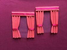 "2 deep apricot  dolls house curtains 3.5"" x 4"""
