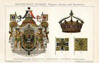 Deutscher Kaiser Krone Wappen 24x16 cm Originale Chromolithographie von 1893 4B