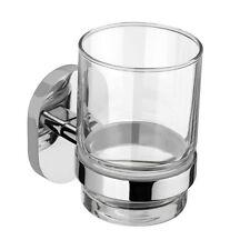 Vidrio claro baño plata Cromo Taza Vaso y titular 10cm De Alto