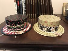 """Mary Engelbreit 2! Storage Hat Boxes ~1997~ 8&3/4"""" Wide~10.5 """"L. ~3&1/4""""Tall"""