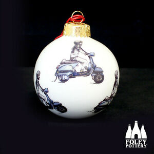 AWOL: Vespa, PX125, P200, LML inspired Fine bone China Bauble By Foley Pottery