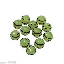 Beads Lampwork Glass ~ GREEN STRIPE / SWIRL 10mm Lot of 12