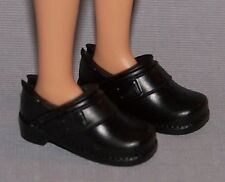 Barbie Doll Shoes Fashionista Original & Petite Flat Feet Black Loafers Pumps