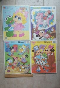 LOT - 4 Vintage Muppet Babies/Disney Tray  Puzzles MB and Golden, USA Made