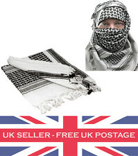 BLACK AND WHITE 100% Cotton SHEMAGH HEADSCARF Military Keffiyeh Arab Army Wrap
