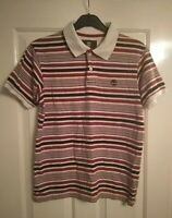Men's Timberland Earthkeepers Polo Shirt UK Small Red Blue Striped Short Sleeve