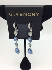 $88 Givenchy silver tone blue crystal linear drop earrings 2 GE