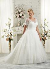 2017-Plus-Size-White-Ivory-Bridal-Gown-V-neck-Wedding-Dress-Stock-Size-14-26 BC