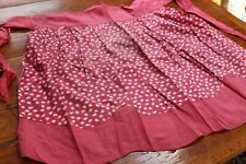 Vintage Cotton Waist Apron Pink w Tiny Leaves