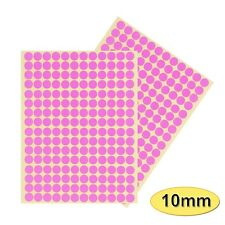 384 x 10mm Coloured DOT STICKERS Round Sticky Adhesive Spot Circles Paper Labels