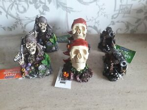 6 Interpet Fish Tank Pirates Skull and Cannons