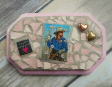 Cowgirl At Heart Magnet Western Art Reclaimed Cowboy Ranch Home Decor Pink OOAK
