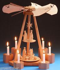 Pyramide Weihnachtsgeschichte 40cm Erzgebirge Schalling Teelicht Christi Geburt