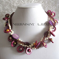 """18"""" 6-20mm White Purple Baroque 3Row Freshwater Pearl Necklace UK"""