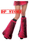 LDS GOTH GOTHIC CYBER EMO PUNK BOOTS FUR DANCER LEOPARD RAVE BOOT LEG WARMERS OS