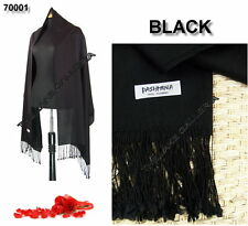 Black Soft 100% Real Pashmina Cashmere Wool Shawl Wrap Scarf Classic High Grade
