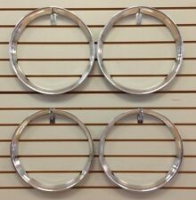 """14"""" Chrome Stainless Steel HOT ROD STYLE RIBBED Beauty Rings TRIM RING SET Of 4"""