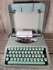 Vintage Hermes Rocket Switzerland Keyboard Portable Manual Typewriter Green