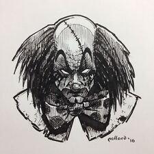 Original Art Happy Clown 2 By Pollard Pen And Ink Drawing Evil Killer