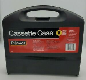 Fellowes Alpha Cassette Tape Carrying Case Holds 36 , Clamshell Style w/ Handle