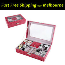 Hot Pink Watch Box Display Case Travel Gift Jewellery Ring Glass Croc Pattern PU
