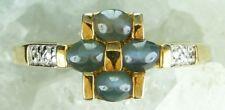 NEW Genuine Solid 9CT Yellow Gold Natural Green Cats Eye Quartz & Diamond Ring