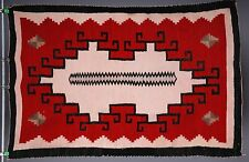 Early Navajo rug, blanket Native American textile, weaving unusual unique large