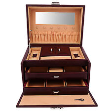 Real Leather Large Multi-Compartment Jewelry Box Organizer Gift for Women