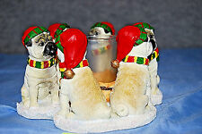 CHRISTMAS PUGS CIRCLE Continental Creations #P774 Votive Candle Holder (#S5647L)