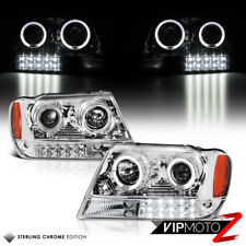 99-04 JEEP GRAND CHEROKEE WJ L+R HALO PROJECTOR CHROME HEADLIGHT LED BUMPER LAMP