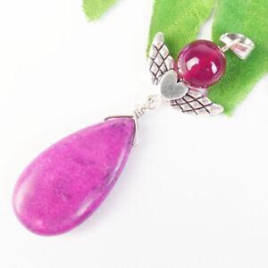 M86305 Manmade Purple Turquoise Teardrop Tibetan Silver Wing Pendant Bead