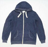 River Island Mens Size M Cotton Blend Blue Zip Hoodie