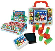 Kids Christmas Mini Stamp Set Ink Pad With 8 Stampers in Carry Case
