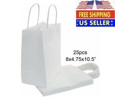 25 Count Gift Bag Kraft Paper for Wedding Candy Favor Bag with Handle (White)