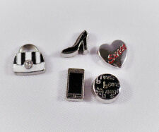 Black/White Purse Floating Charms-High Heel Shoe-Phone-Sweet-Live Love Laugh