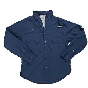 Men's Columbia PFG Long Sleeve Shirt Size Small Vented Fishing Shirt Blue
