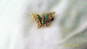 Emerald & Diamond Butterfly Brooch 14K  Yellow Gold Fine